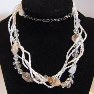 Jewelry - White Bead, Crystal, Abalone Necklace 24""
